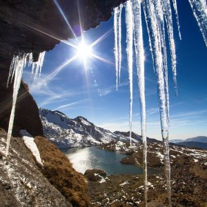 Icicles and mountains. Nepal, Langtang region, hills around Gosaikunda lake (4,430 m)